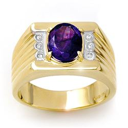 2.56 CTW Tanzanite & Diamond Mens Ring 10K Yellow Gold - REF-90W9H - 13514