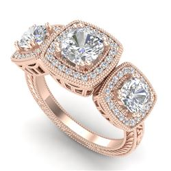 2.75 CTW Cushion Cut VS/SI Diamond Art Deco 3 Stone Ring 18K Rose Gold - REF-609F3M - 37041