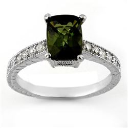 2.15 CTW Green Tourmaline & Diamond Ring 18K White Gold - REF-61X8T - 11433