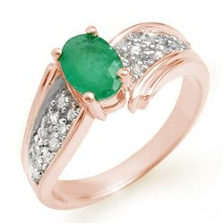 1.43 CTW Emerald & Diamond Ring 14K Rose Gold - REF-65K5R - 13379