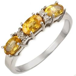 1.33 CTW Yellow Sapphire & Diamond Ring 18K White Gold - REF-32T9X - 10757