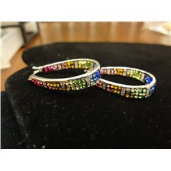 18kt White Gold over Stainless Multi Colored Ear Rings