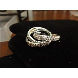 18 KT White Gold over Stainless Tri Band
