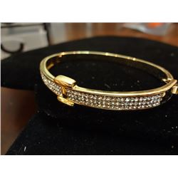 18k Gold over Stainless Bangle with Swarvoski