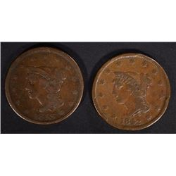 1842 & 1843 LARGE CENTS VG+