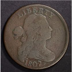 1807/6 DRAPED BUST LARGE CENT VG