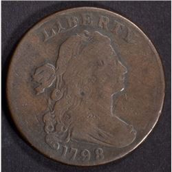 1798 DRAPED BUST LARGE CENT FINE RIM CUD