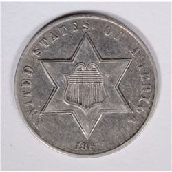 1861 THREE CENT SILVER XF