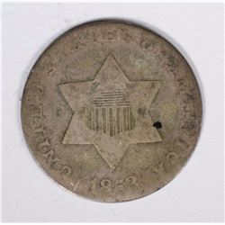 1853 THREE CENT SILVER VG