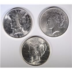 1922, 1923, 1925 PEACE DOLLARS CHOICE BU WHITE!