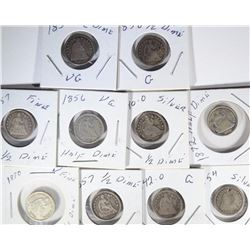 10 - CIRC SEATED HALF DIMES 1873 and OLDER