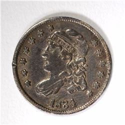 1834 CAPPED BUST HALF DIME VF+ A LITTLE BENT