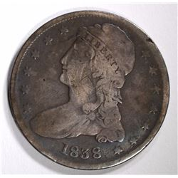 1838 CAPPED BUST REEDED EDGE  HALF DOLLAR