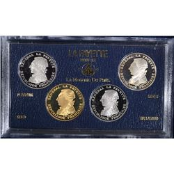 1987 FRENCH PARIS 4-COIN LAFAYETTE PROOF SET #2972