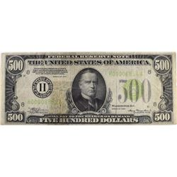 1934 $500.00 FEDERAL RESERVE NOTE VF
