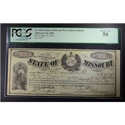 1874 $55.22 STATE OF MO. WAR CLAIM CERTIFICATE