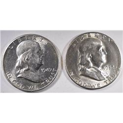 1949-S & 1952-S GEM BU FRANKLIN HALF DOLLARS