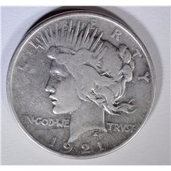 1921 PEACE SILVER DOLLAR, VG+ KEY
