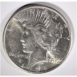 1924-S PEACE SILVER DOLLAR, CH BU SEMI-KEY