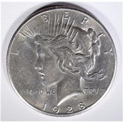 1928 PEACE SILVER DOLLAR, AU+ -KEY DATE