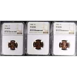1962, 63, & 64 LINCOLN CENTS, NGC PF68 RD