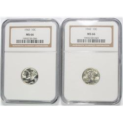 1942 & 1943 MERCURY DIMES, NGC MS-66