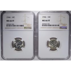 2-1946 ROOSEVELT DIMES, NGC MS-66 FULL TORCH