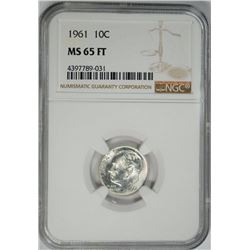 1961 ROOSEVELT DIME, NGC MS-65 FT