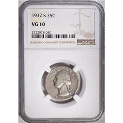 1932-S WASHINGTON QUARTER, NGC VG-10