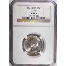 1963 DDO FS-101 WASHINGTON QUARTER, NGC MS-65