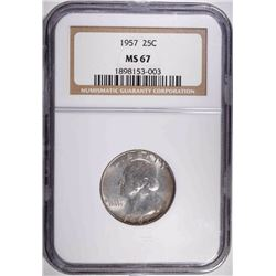 1957 WASHINGTON QUARTER, NGC MS-67