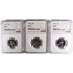 1961, 62 & 63 WASHINGTON QUARTERS, NGC PF-67