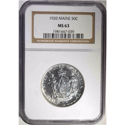 1920 MAINE COMMEM HALF DOLLAR, NGC MS-63