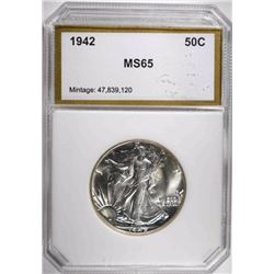 1942 WALKING LIBERTY HALF, PCI GEM BU BLAST WHITE