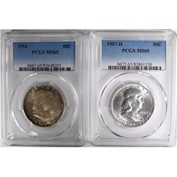 1954 & 1957 FRANKLIN HALF DOLLARS, PCGS MS-65