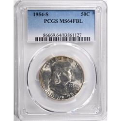 1954-S FRANKLIN HALF DOLLAR, PCGS MS-64 FBL