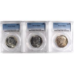 2-1967 & 68-D FRANKLIN HALF DOLLARS, PCGS MS-65