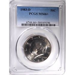1983-D KENNEDY HALF DOLLAR, PCGS MS-66+