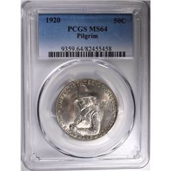 1920 PILGRIM COMMEM HALF DOLLAR, PCGS MS-64