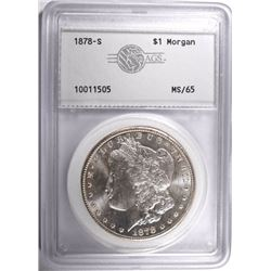 1878-S MORGAN DOLLAR, AGS GEM BU