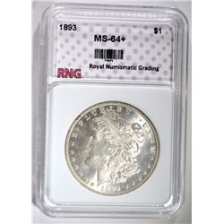 1893 MORGAN SILVER DOLLAR, RNG CH+/GEM BU