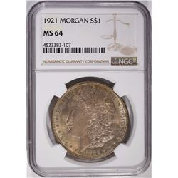 1921 MORGAN DOLLAR, NGC MS-64 TONING