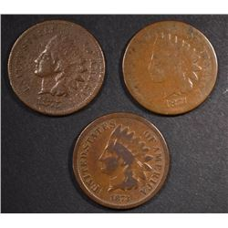 1873, 74 & 75 INDIAN CENTS, G+