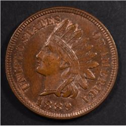1889 INDIAN CENT, GEM BU SOME RED