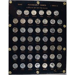 BU SET OF ROOSEVELT DIMES 1946-65 PLASTIC HOLDER