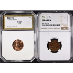 2 LINCOLN CENTS: 1937 D NGC MS 64 BN &