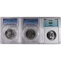 3 GRADED FRANKLIN HALF $'s: 1959-D EMGC GEM BU,