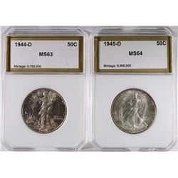 1944-D & 1945-D WALKING LIBERTY HALF DOLLARS