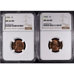 1944 & 1958 LINCOLN CENTS NGC MS66 RD