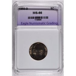1950-D JEFFERSON NICKEL ENG SUPERB GEM BU